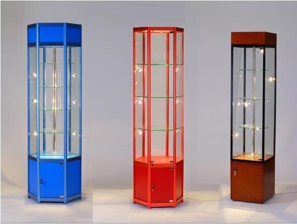 六边形旋转玻璃展架,展示柜,精品柜,钛合金货架